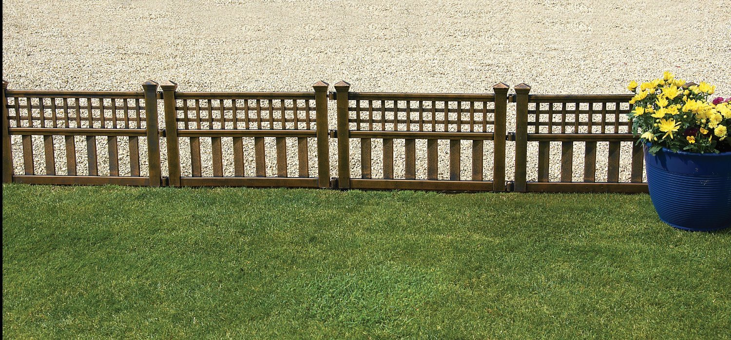 Greenhurst Pack of Four Plastic Fence Panels in Bronze: Amazon.co.uk ...