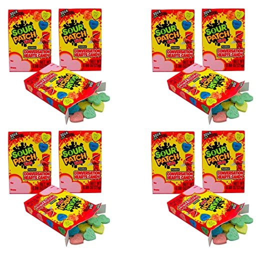 Sour Patch Kids Conversation Hearts Candy boxes (12 pack, 0.88 Ounce) Valentines Day