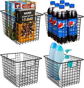 Sorbus Metal Wire Baskets Storage Bin Organizer for Food Pantry, Kitchen, Laundry Room, Basket Organizers for Home, Bathroom, Closet Organization, Iron Metal (4-Pack, Black)