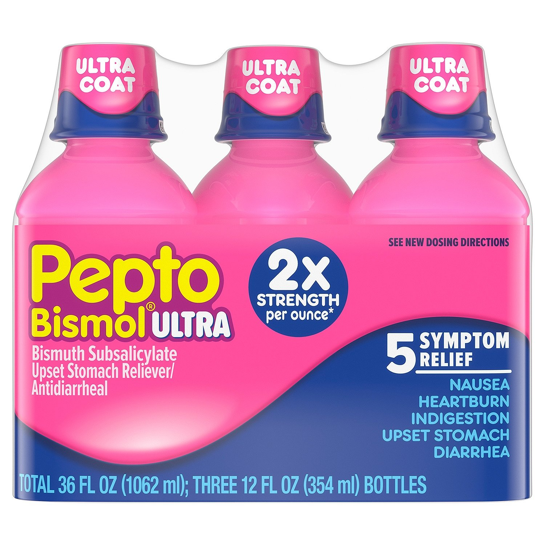 Pepto Bismol Liquid Ultra for Nausea, Heartburn, Indigestion, Upset Stomach, and Diarrhea Relief, 12 Floz, 3 Pack