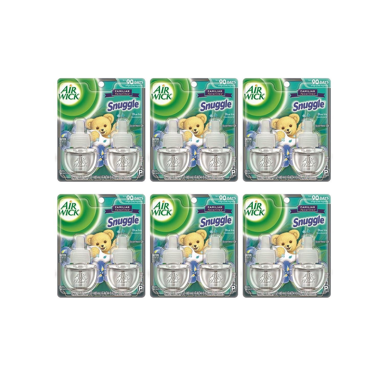 Air Wick Scented Oil 12 Refills, Snuggle Blue Iris, (6X2x.67oz), Air Freshener Reckitt Benckiser