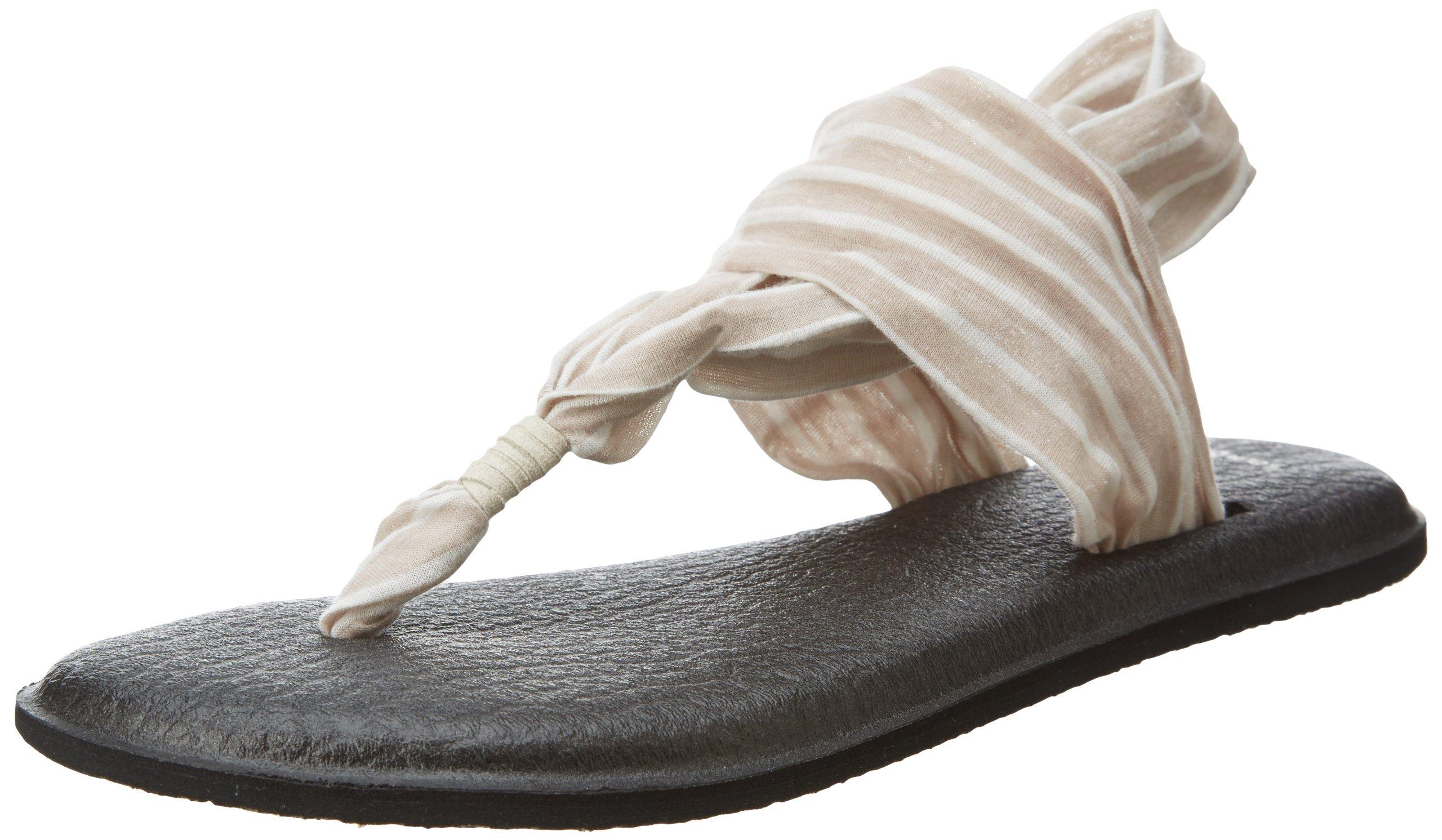 Sanuk Women's Yoga Sling 2 Prints Flip Flop,Tan/Natural Stripes,9 M US