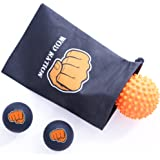 Massage Ball Set for Athletes - Two (2) Solid Rubber Lacrosse Balls + One (1) Trigger Point Self Myofacial Release Spikey Ball - Destroy Knots and Adhesions - Includes a Convenient Travel Bag