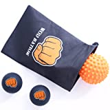 Massage Ball Set for Athletes - Two (2) Solid Rubber Lacrosse Balls + One (1) Trigger Point Myofacial Release Ball with Soft Spikes + Convenient Travel Bag (Orange & Black)