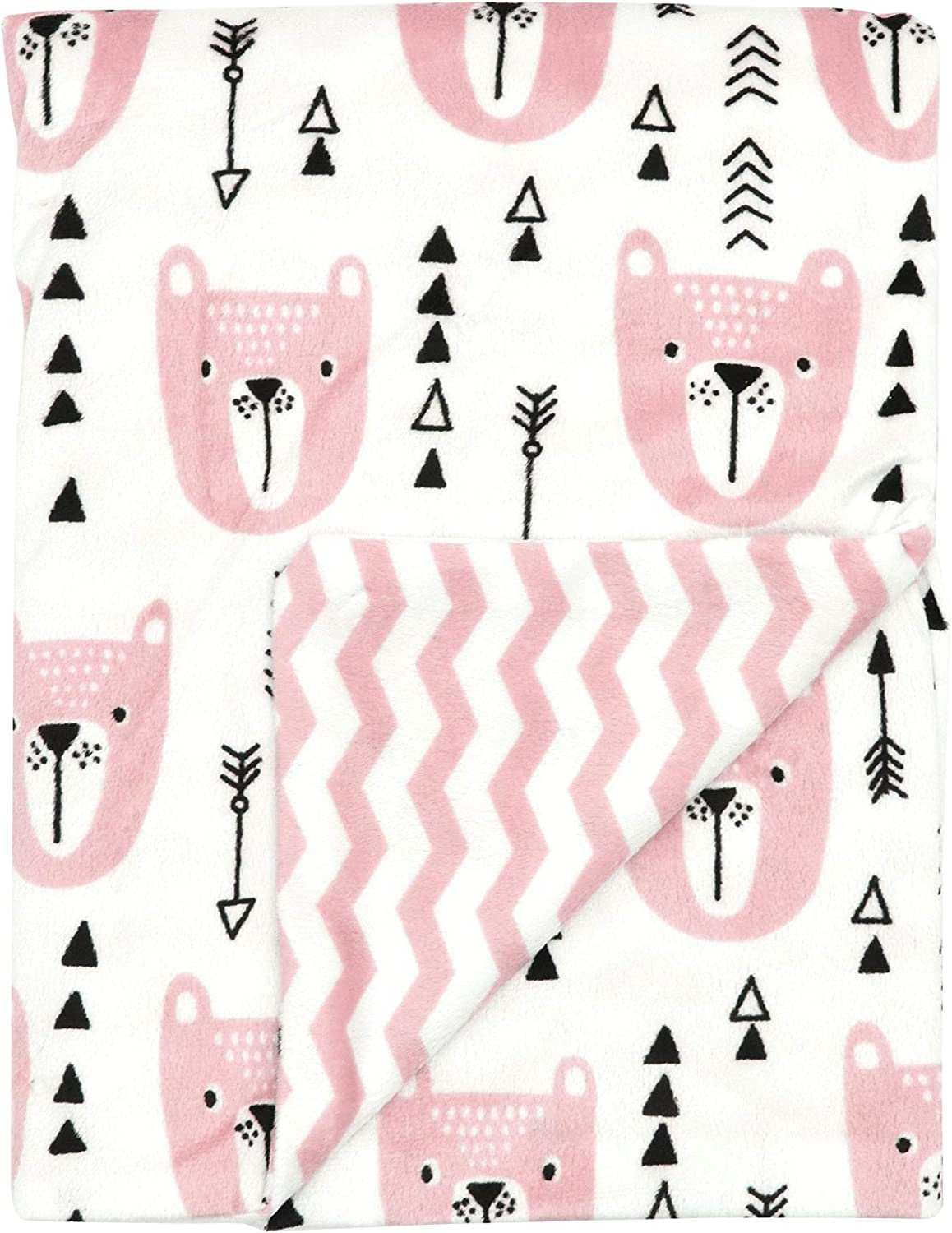 """Large Luxuriously Soft Pink Minky Baby Blanket for Girls with Bears, Arrows and Reversible Chevron Print by Everyday Kids; Toddler and Baby Girl Crib Blanket 30 x 40"""" for Woodland Baby Nursery Decor"""