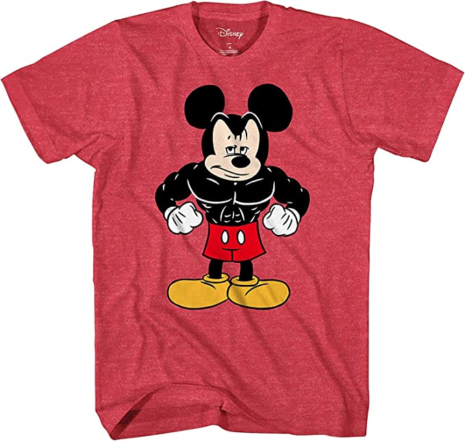 Disney Tough Mickey Mouse Men's Adult Graphic Tee T-Shirt (Red Heather, X-Large)