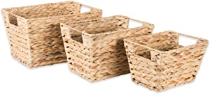 DII Natural Water Hyacinth Storage Basket with Handles, assorted Set of 3, Beige