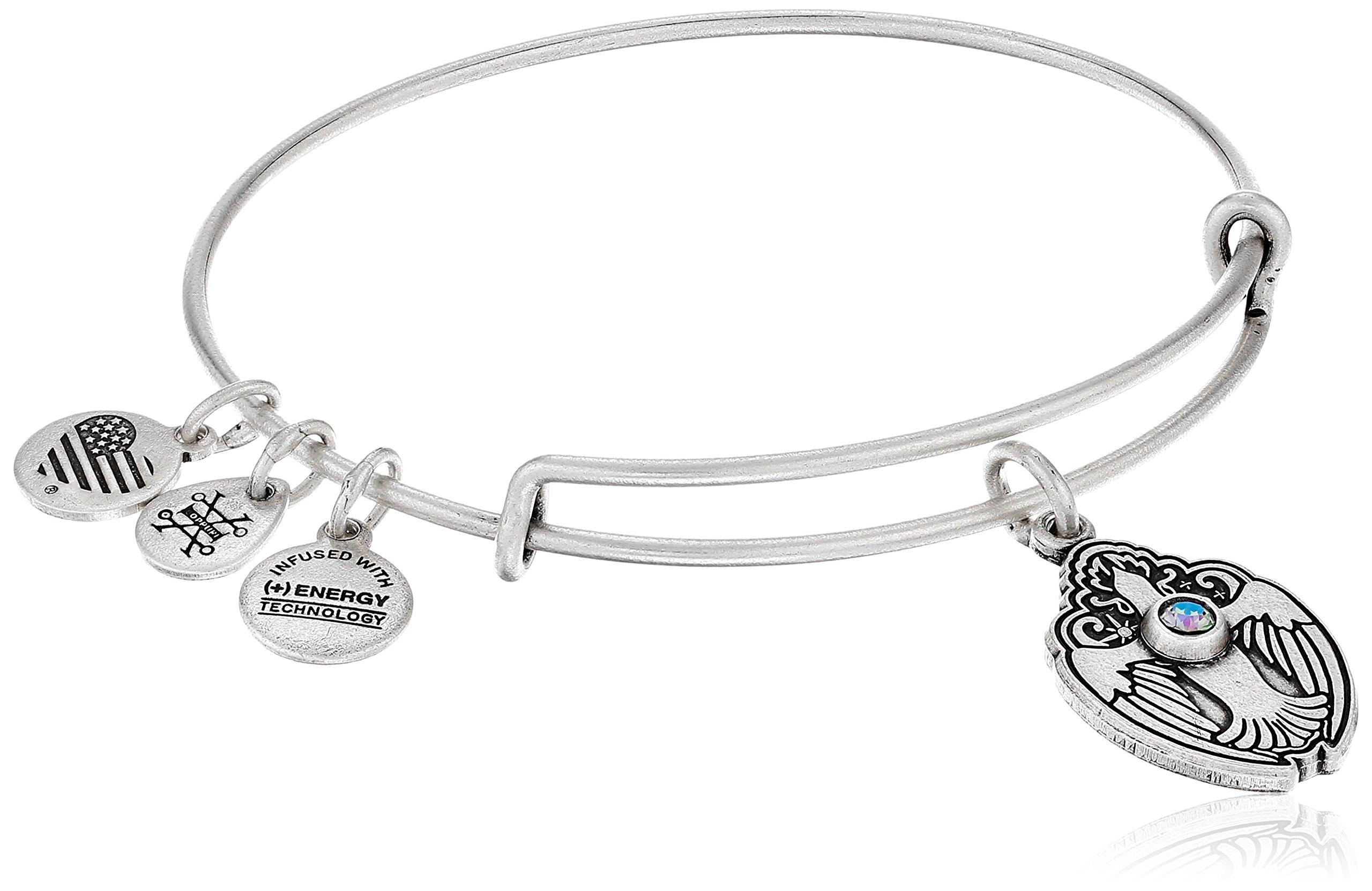 Alex and Ani Crystal Dove Rafaelian Silver Bangle Bracelet