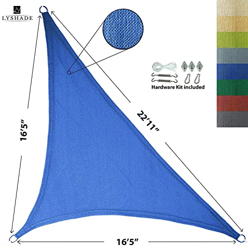 LyShade 12 x 12 x 17 Right Triangle Sun Shade Sail Canopy with Stainless Steel Hardware Kit Blue – UV Block for Patio and Outdoor