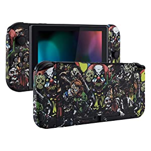 eXtremeRate Soft Touch Grip Back Plate for Nintendo Switch Console, NS Joycon Handheld Controller Housing with Full Set Buttons, DIY Replacement Shell for Nintendo Switch - The Great Wave