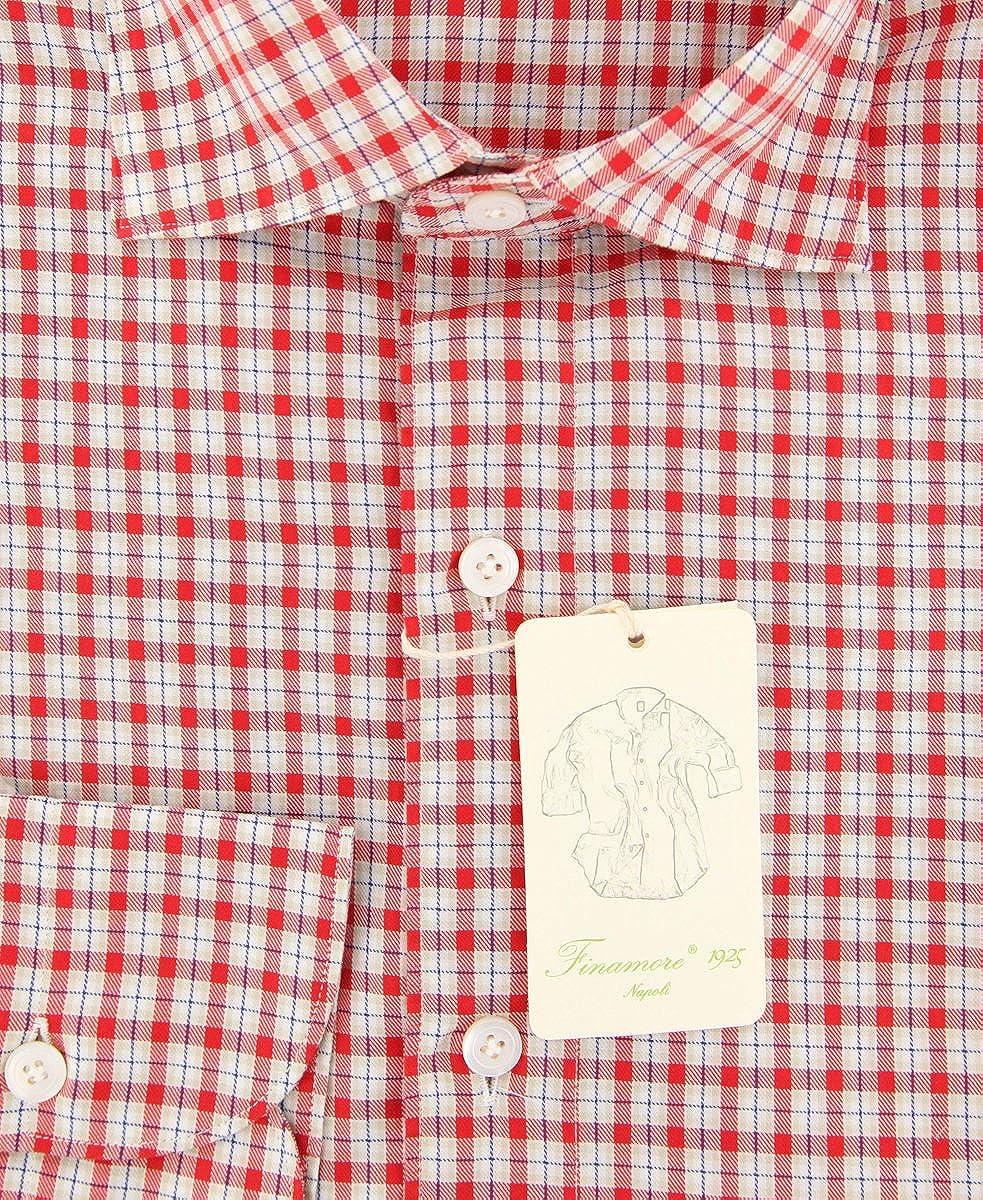 Finamore Napoli Plaid Button Down Spread Collar Cotton Extra Slim Fit Dress Shirt