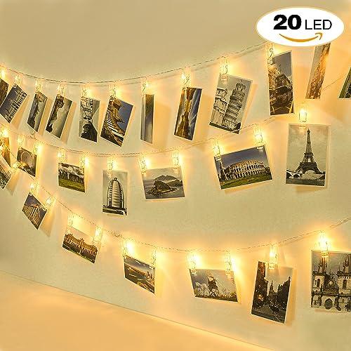Homelegace 20 LED Photo Clip Chaîne Lights Blanc Chaud Batterie pour Accrocher Photos, deux modes d'éclairage pour Fête Noël Mariage Anniversaire Soirée Party Décor Chambre Maison