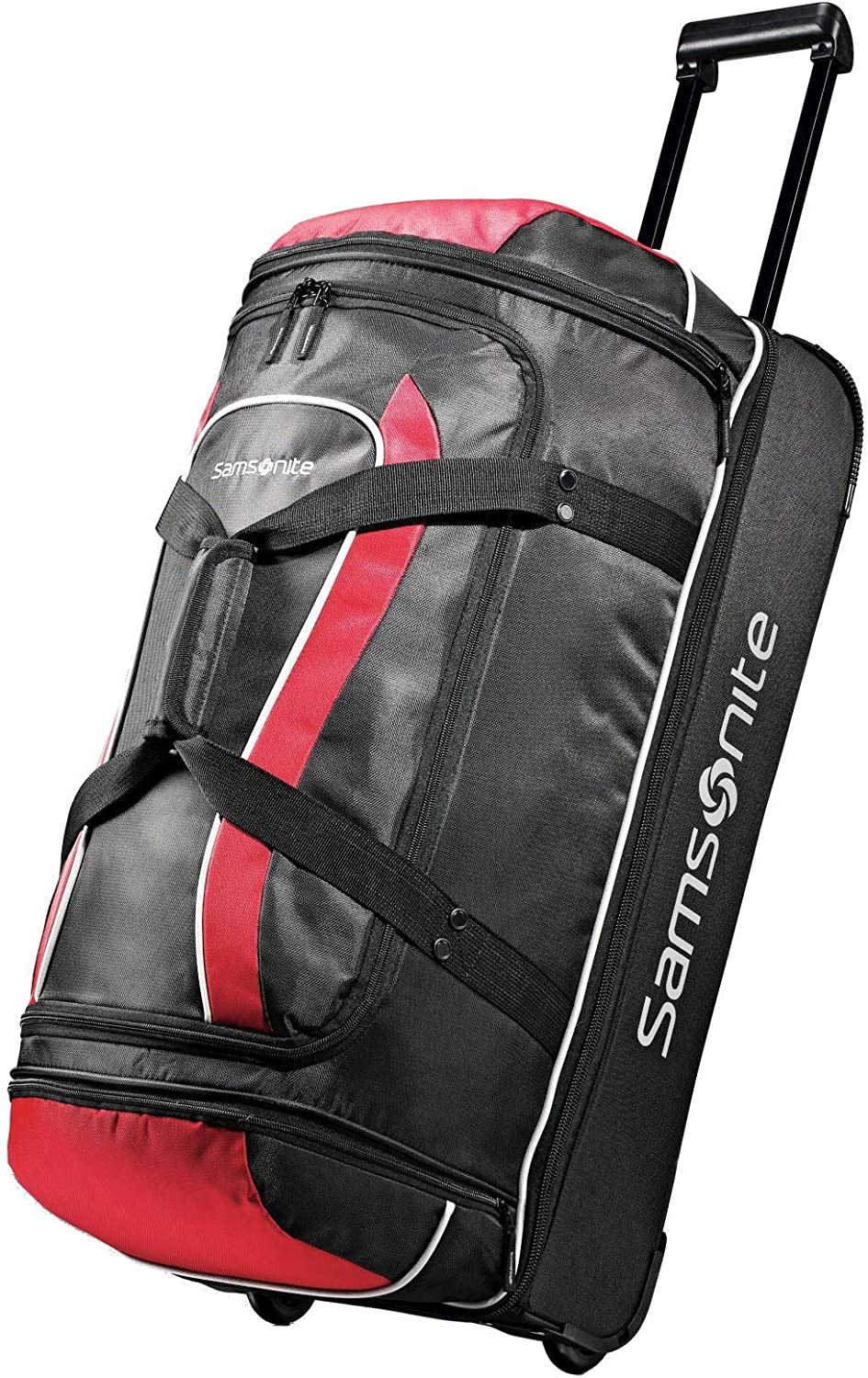 Samsonite Andante Drop Bottom 28 Wheeled Duffel Bag in Black-Red
