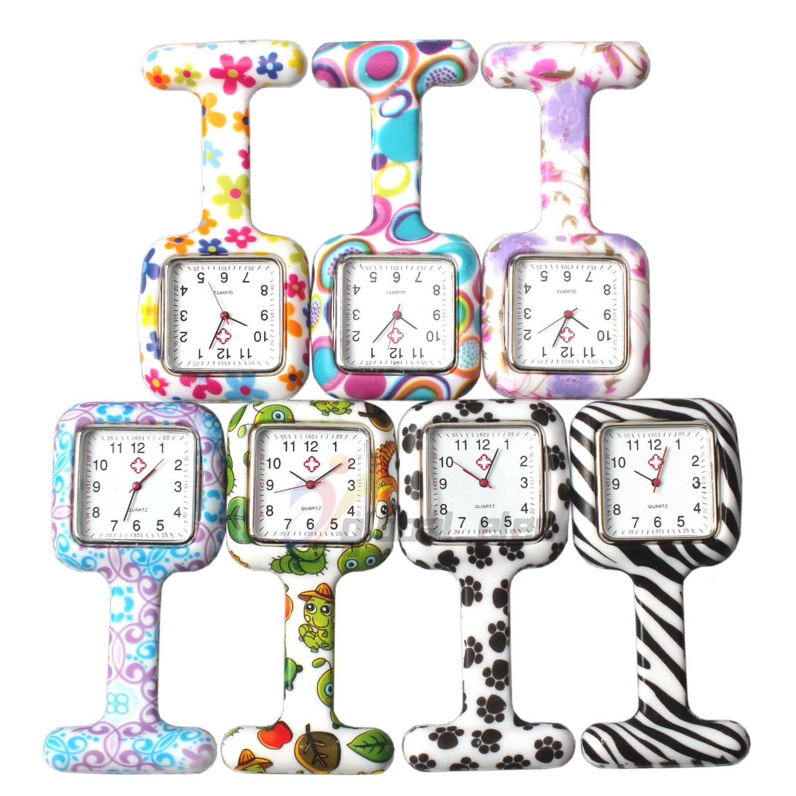 NURWAT Unisex Square Nurses Clip-on Fob Brooch Lapel Pocket Watch Silicone 7 Colors