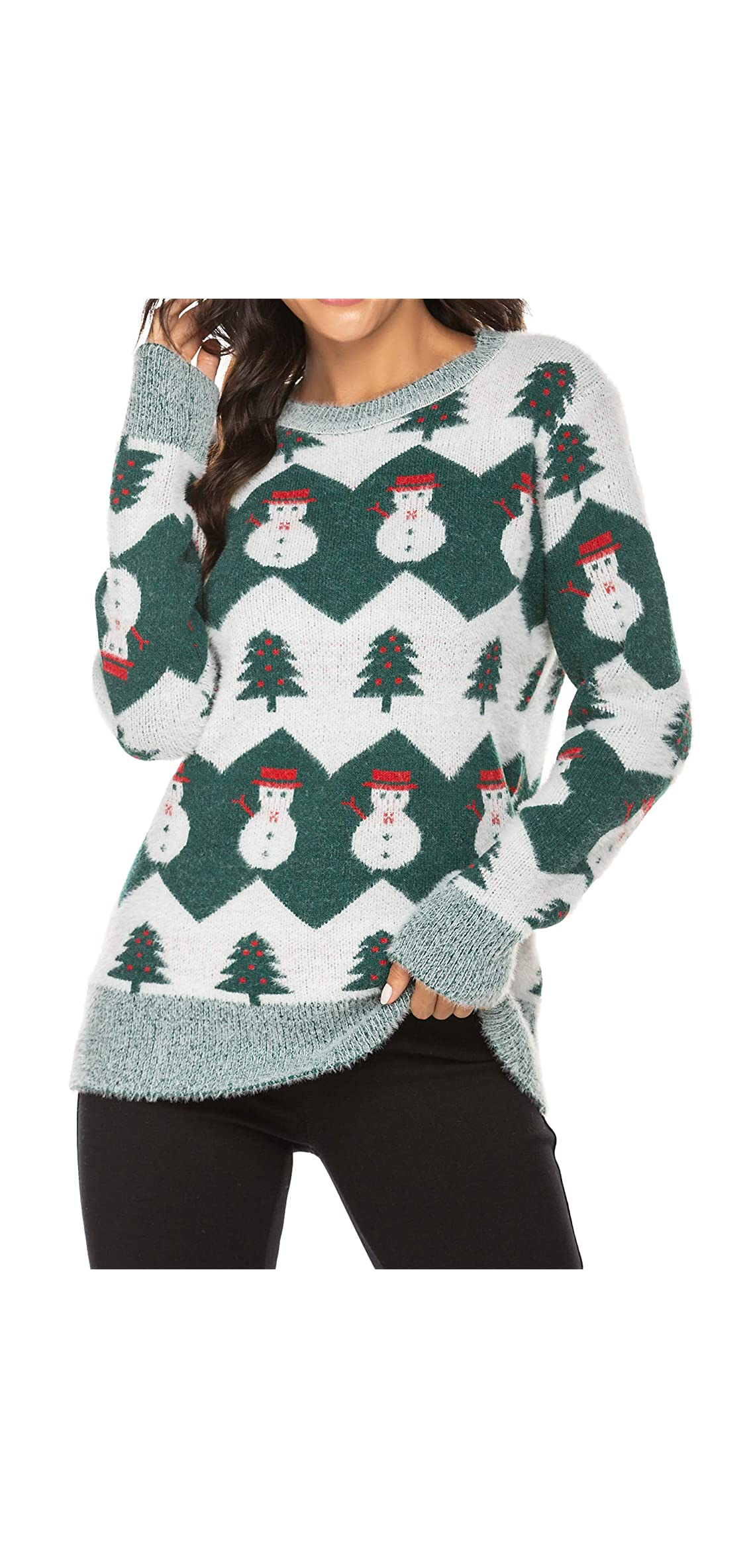 Women's Christmas Knitted Sweater Snowman Christmas