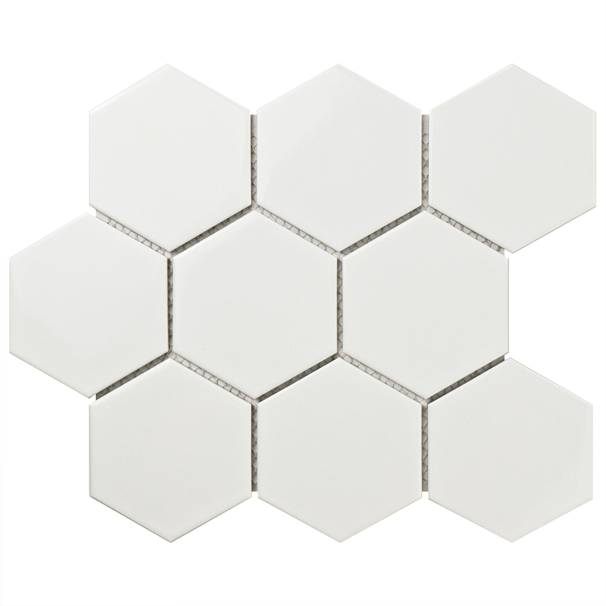 SomerTile FWRM4HGW Retro Super Hex Porcelain Mosaic Floor & Wall Tile, 10'' x 11.5'', Glossy White, 10 Piece