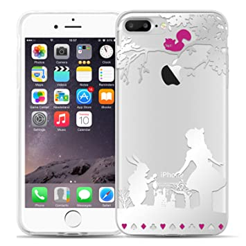 Funda De Silicona iPhone 8 Plus, iPhone 7 Plus Case, JAMMYLIZARD Carcasa Transparente [ Sketch ] Gel Flexible Duradero Resistente Back Cover, Alicia
