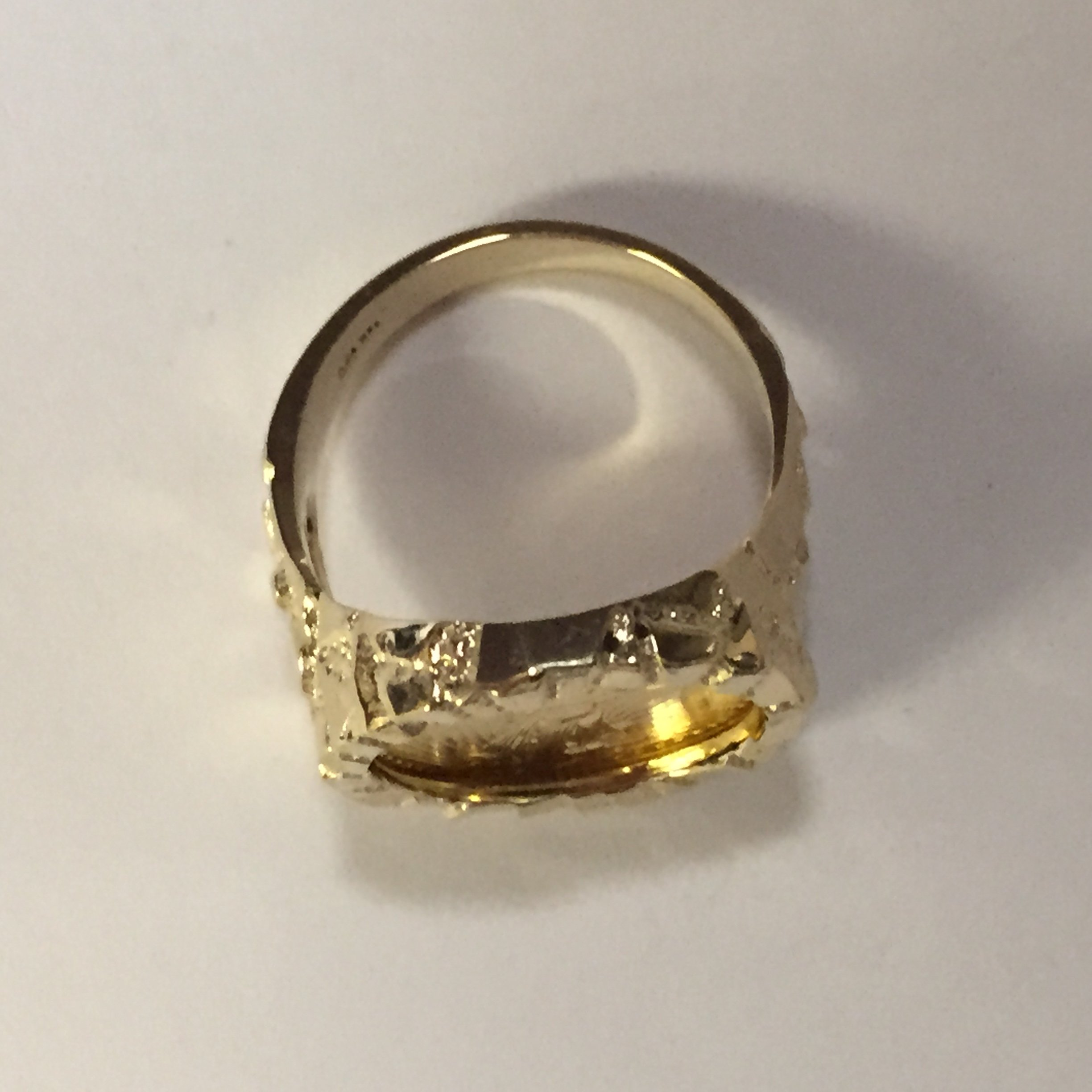 22K-Fine Gold 1/10 Oz Us American Eagle Coin In -14K Nugget Ring 1510 (Random Year Coin) by TEX (Image #2)