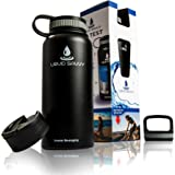 Liquid Savvy 32 oz Insulated Water Bottle with 3 lids - Stainless Steel, Wide Mouth Double Walled Vacuum Insulated Bottle for Hot and Cold Beverages