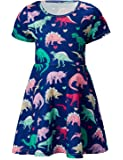 RAISEVERN Girl's Short Sleeve Dress Casual Swing Skirt for Theme Holiday Party