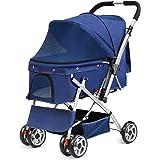 Amzdeal Poussette Chien Pliable avec Roues EVA Chariot de Transport pour Animaux Domestiques de Compagnie Acier-Bleu