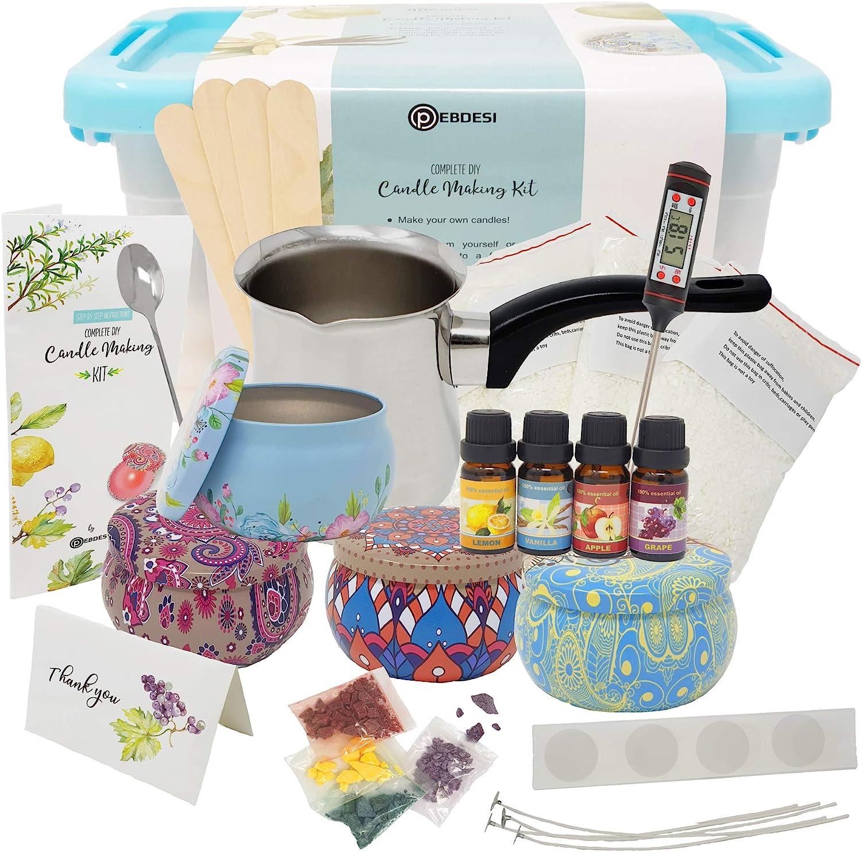 PEBDESI - Kit Completo de Fabricación de velas – Crea velas de cera perfumadas – Juego completo para principiantes que incluye cera de 225 gramos, ...