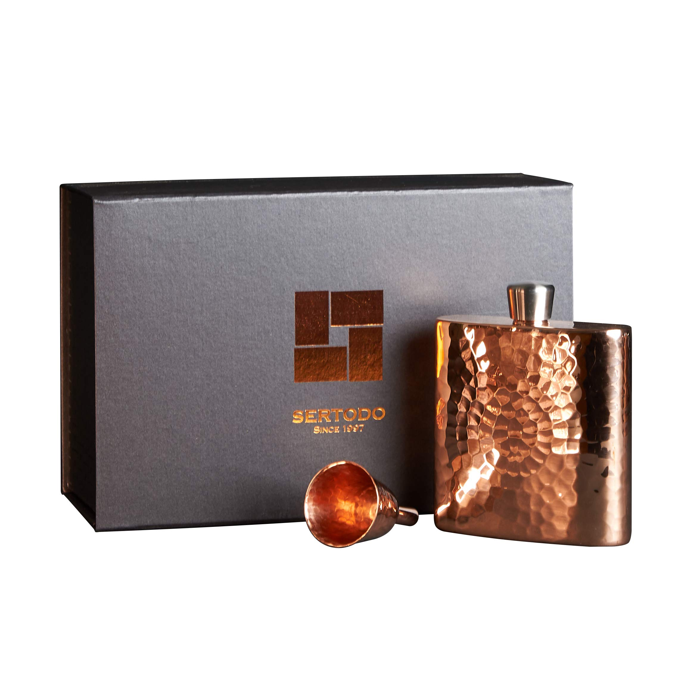 Sertodo Copper FLSK-ESP-4x4 Espadín Square Flask with Funnel & Gift Box, Hand Hammered 100% Pure Copper, 9 oz by Sertodo Copper (Image #1)