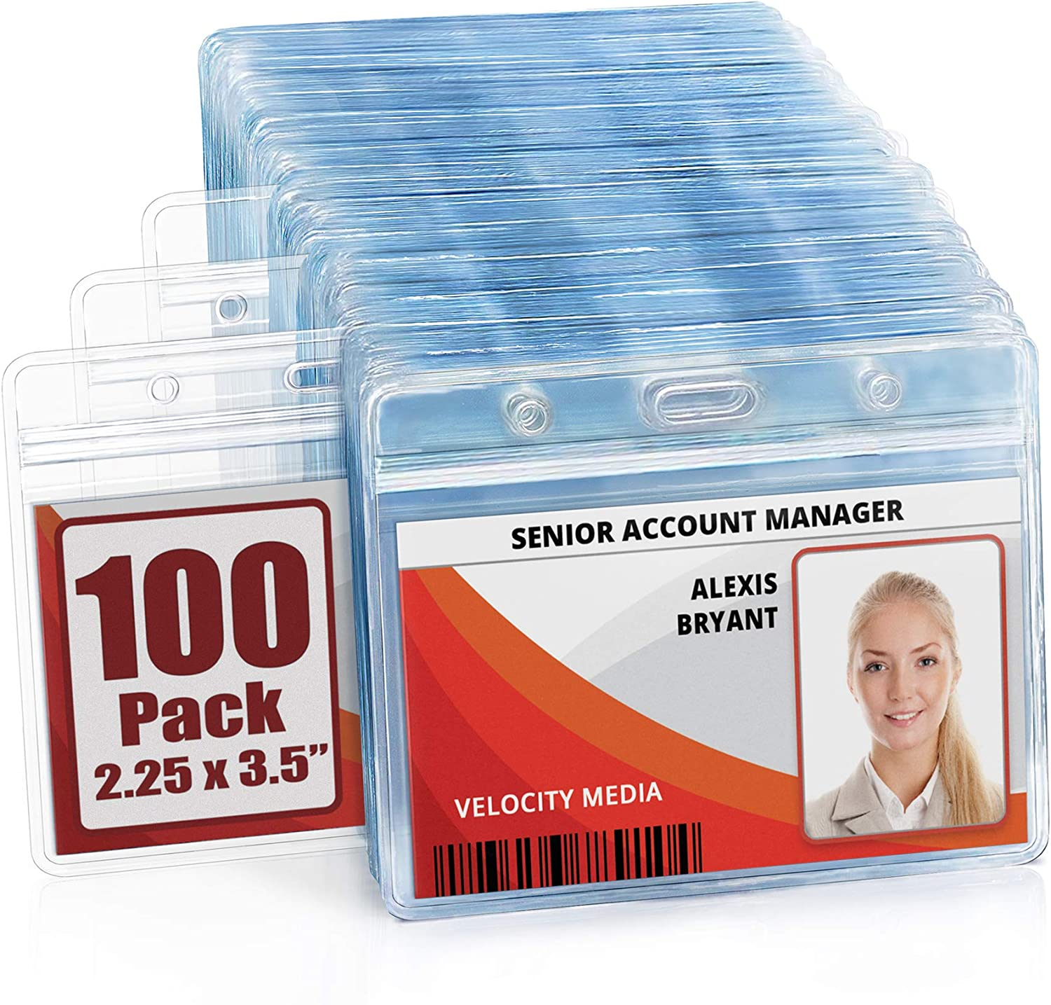 MIFFLIN Horizontal ID Name Badge Holder (Clear, 2.25x3.5 Inches, 100 Pack), Waterproof and Resealable Plastic Card Holders