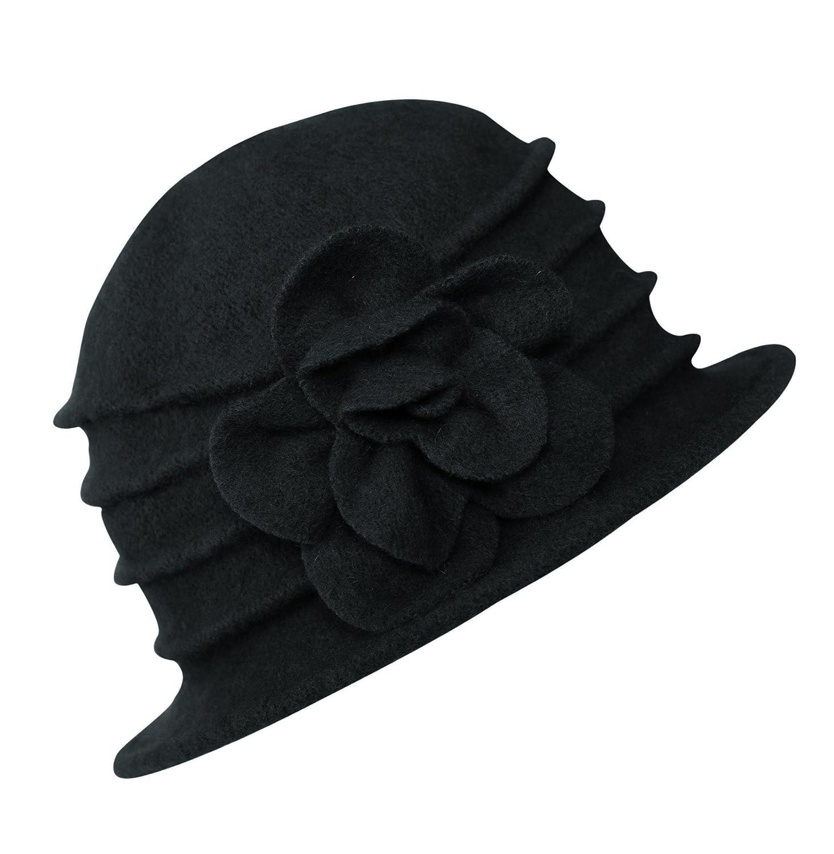 Urban GoCo Donne Elegante Fiori Beret Beanie Hat Secchio Feltro di Lana Cappello Benna Cloche Berretto MXD-06-W