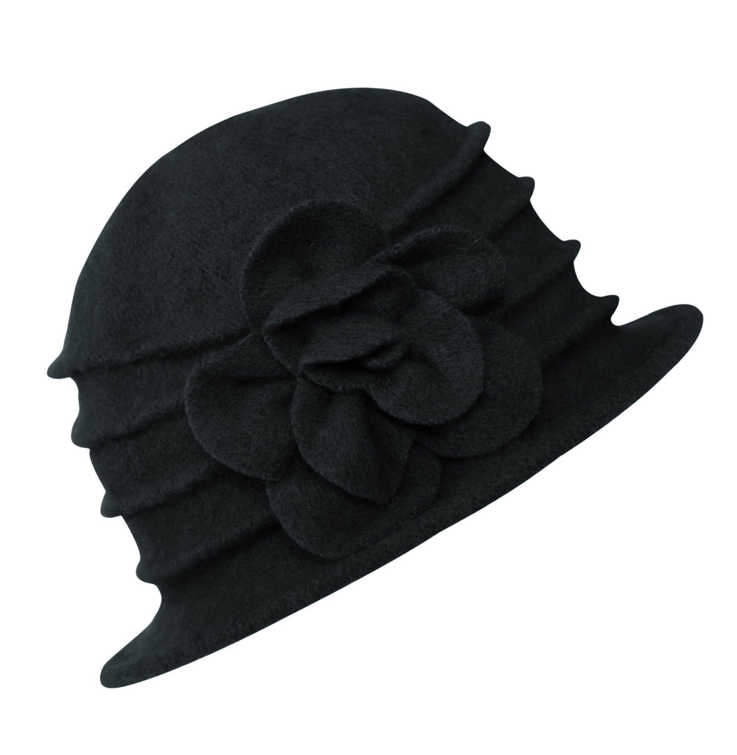 Urban CoCo Women's Floral Trimmed Wool Blend Cloche Winter Hat (Black-Model C)