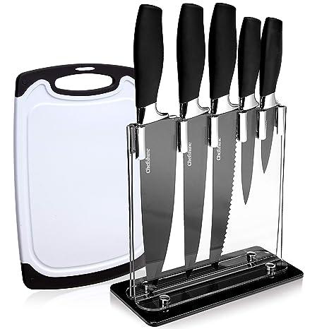 Amazon.com: Juego de 7 cuchillos de cocina con bloque y ...