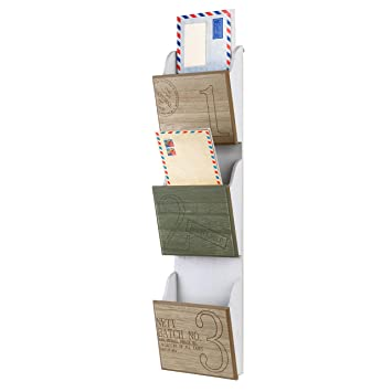 3 Slot Vintage Style Wood Wall Mounted Mail Sorters