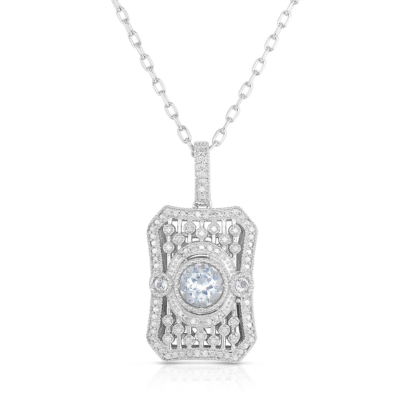 NATALIA DRAKE Blowout Sale 1//15cttw Diamond and 5.5mm White Topaz Titanic Pendant