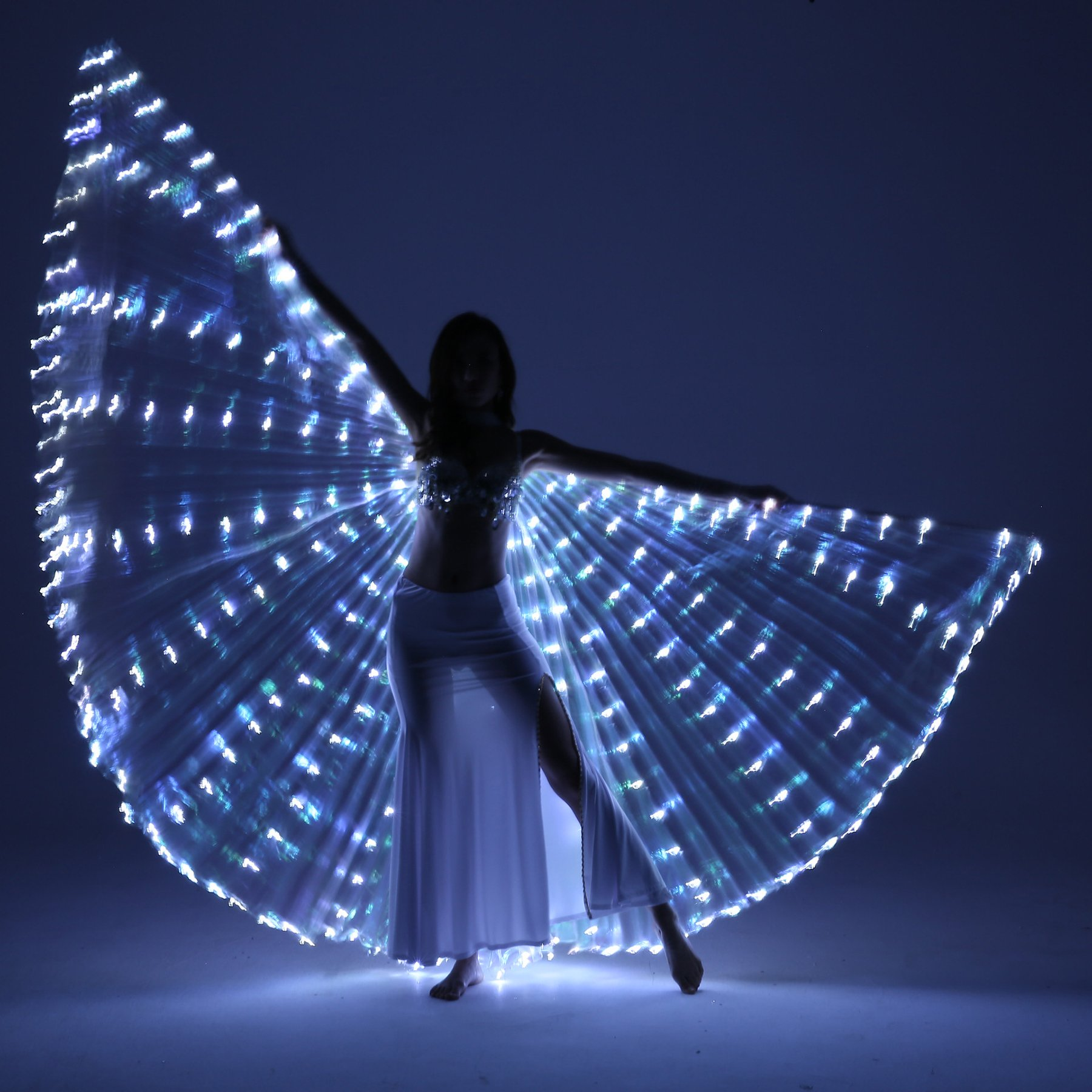 Dance Fairy Belly Dance LED Isis Wings with Stick(White) by Dance Fairy (Image #3)