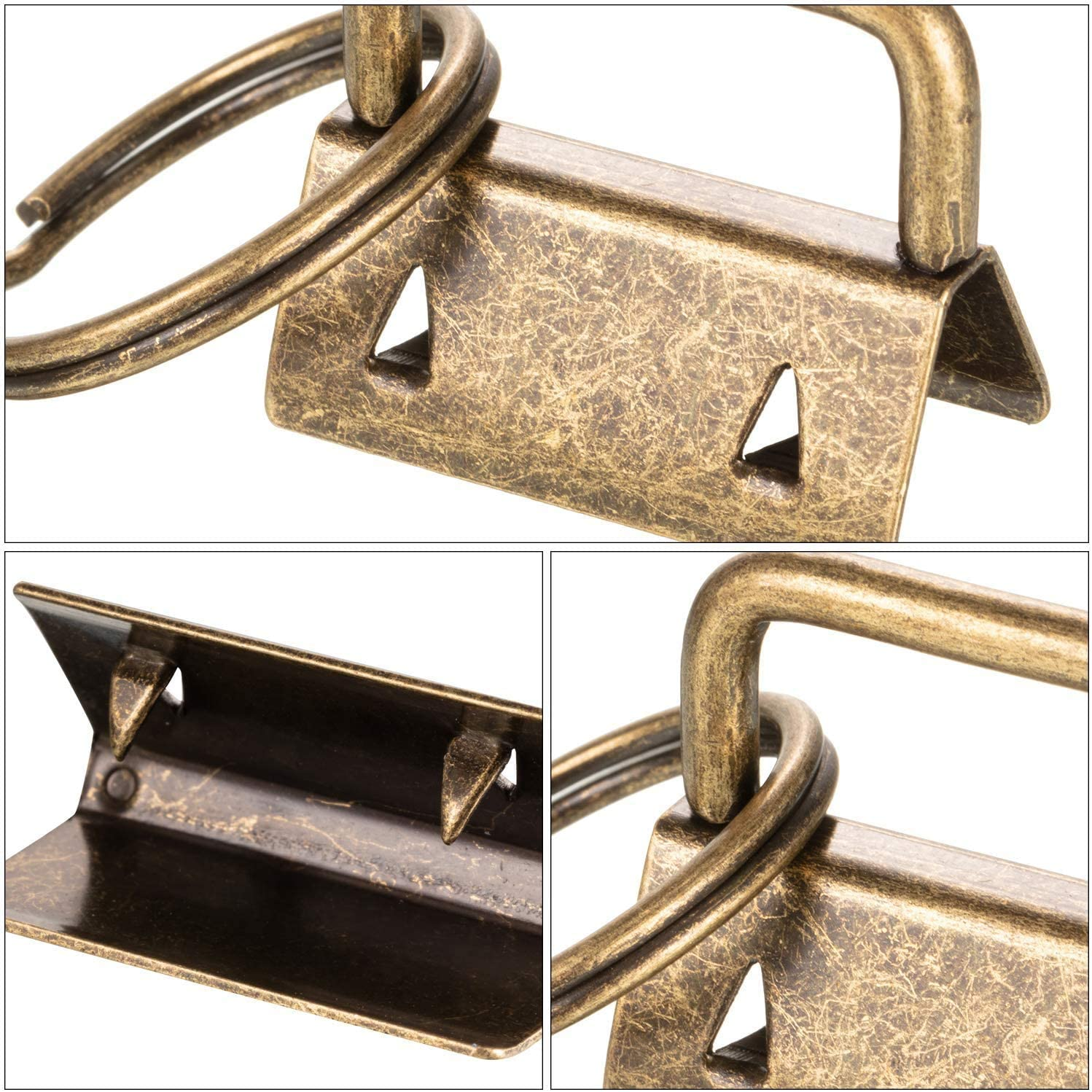 50Pcs 1 Inch Key Fob Hardware Bronze Key Chain Fob Wristlet Hardware with Key Ring for Lanyard