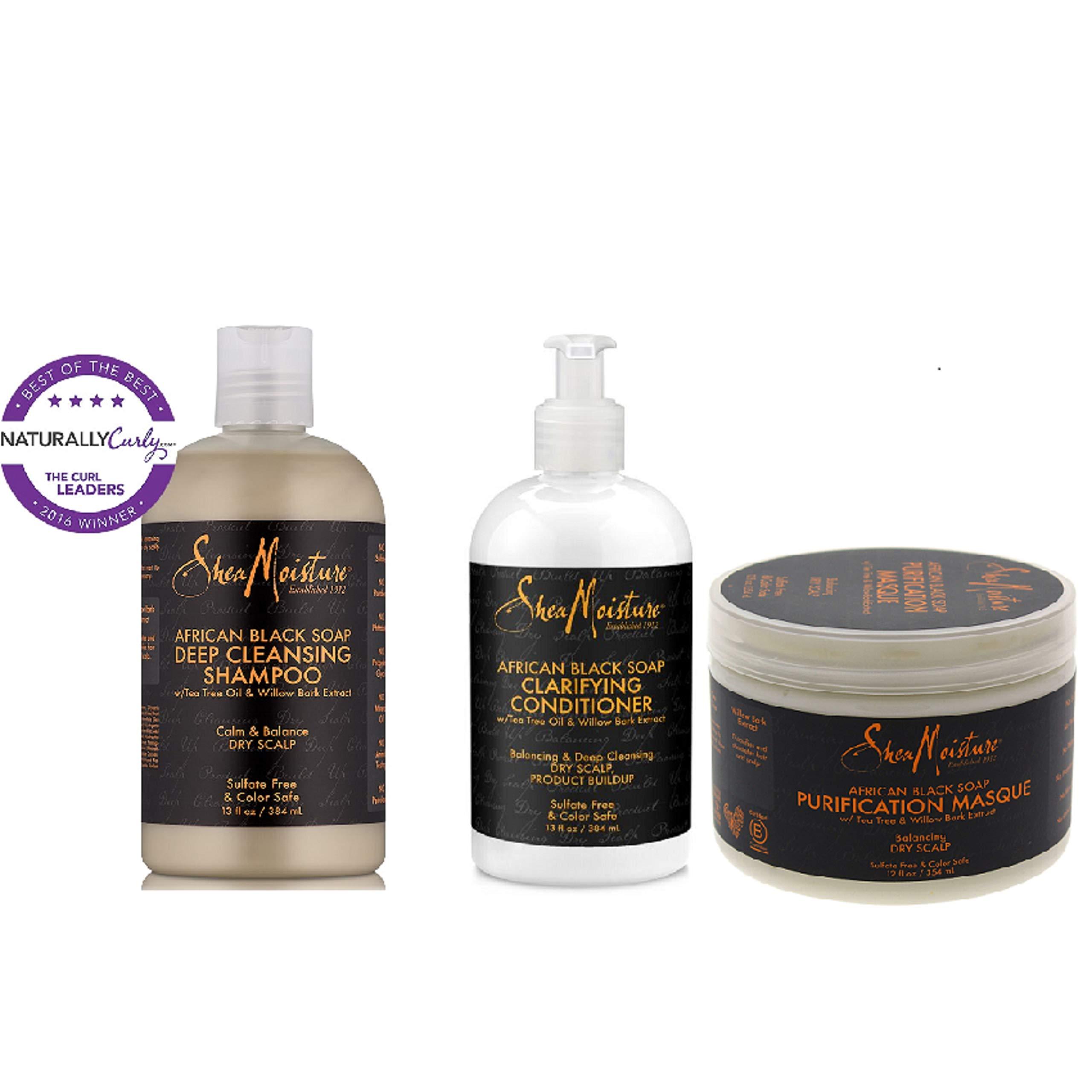 Shea Moisture African Black Soap Set II-Shampoo 13oz+Conditioner 13oz+Masque 12oz by Shea Moisture