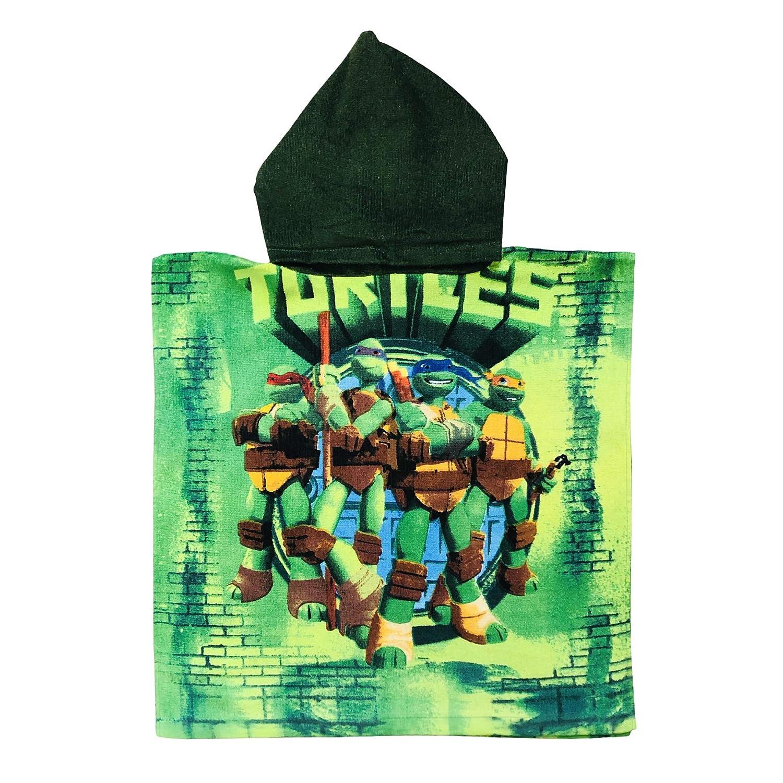 Turtles Ninja Green bricked backgound Hooded Poncho Towel