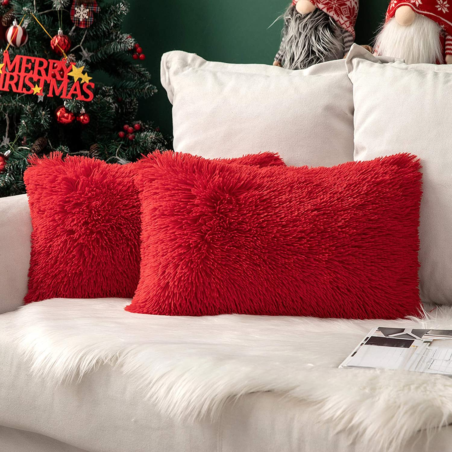 MIULEE Pack of 2 Christmas Decoration Luxury Faux Fur Throw Pillow Cover Deluxe Decorative Plush Pillow Case Cushion Cover Shell for Sofa Bedroom Car 12 x 20 Inch Red