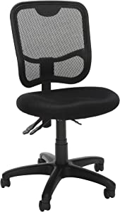 OFM Core Collection Comfort Series Ergonomic Mesh Mid Back Armless Task Chair, in Black