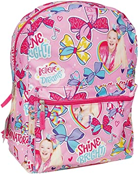 "Jojo Siwa Bow Pink Large Backpack 16/"" All Over Print Mochila Girls B-Day Gift"