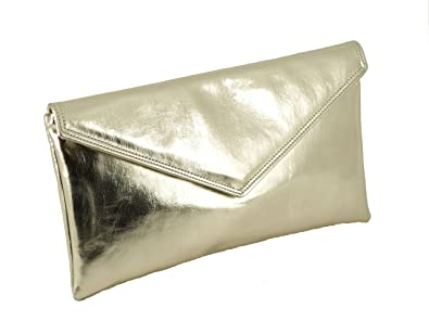 cdc3004fc4 Loni Womens Neat envelope metallic faux leather clutch shoulder evening bag  in Gold