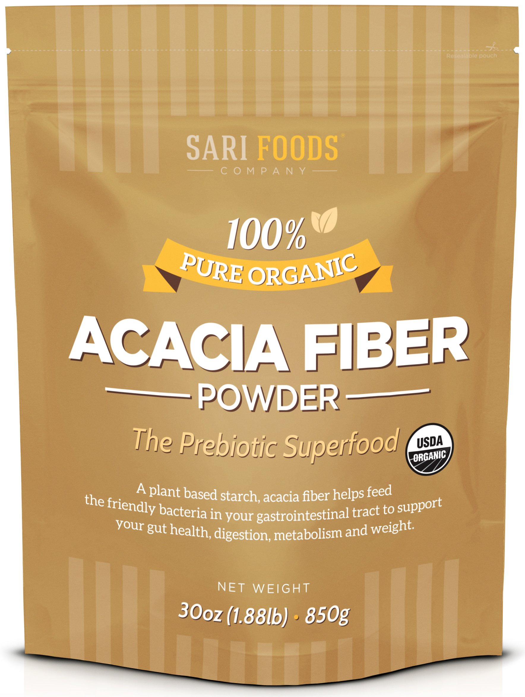 Organic Acacia Fiber Powder (30 Ounce): Natural, Whole Food, Plant Based Prebiotic Superfood for Gut Health