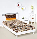 Amazon Brand - Solimo Diamond Dreams 144 TC 100% Cotton Single Bedsheet with 1 Pillow Cover - Brown