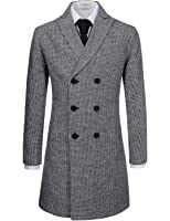 NEARKIN Mens Upturned Collar Unbalanced Wool Blend Checker Slim Fit Pea Coat