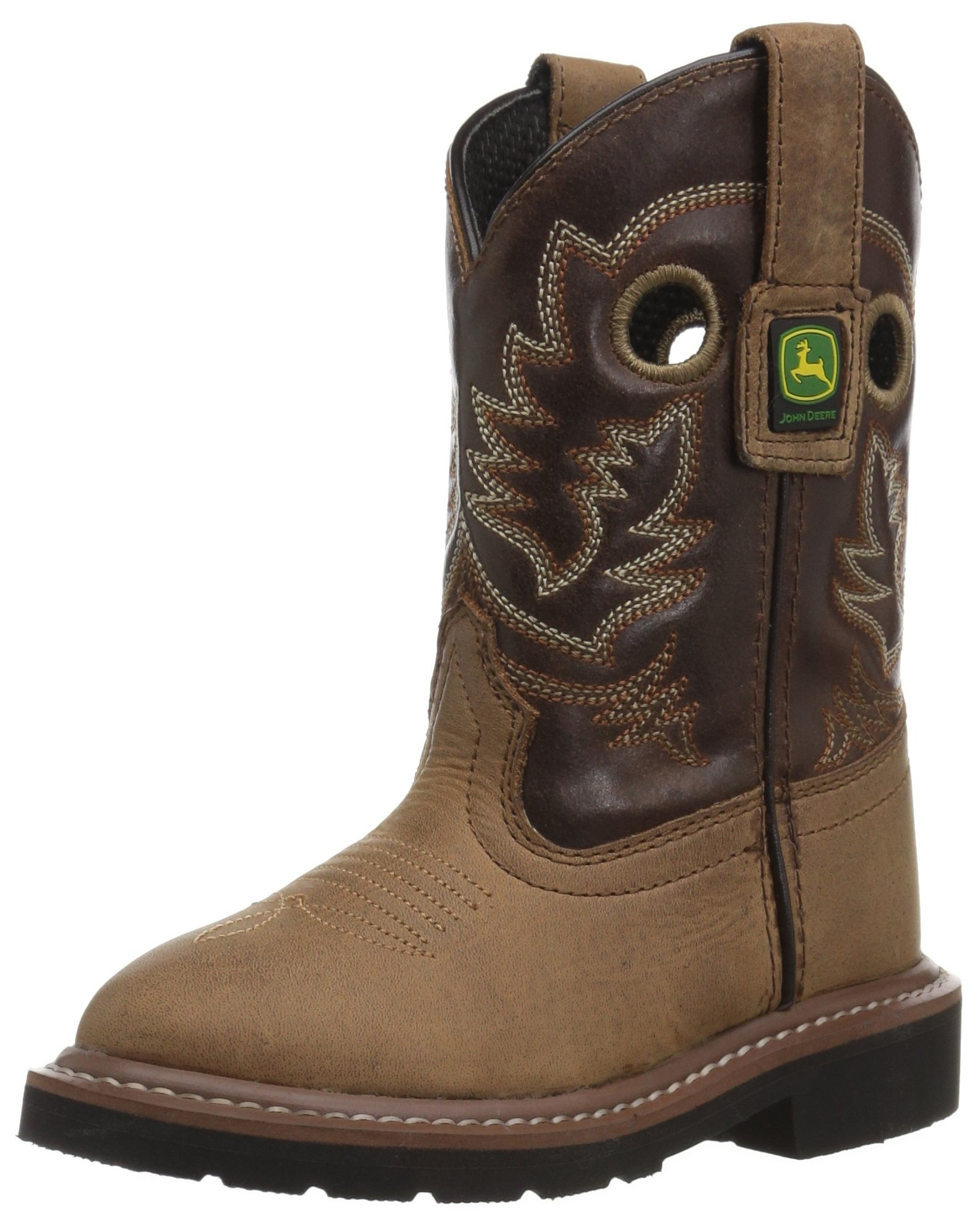 John Deere Unisex JD2502 Western Boot, Brown, 3 Medium US Little Kid