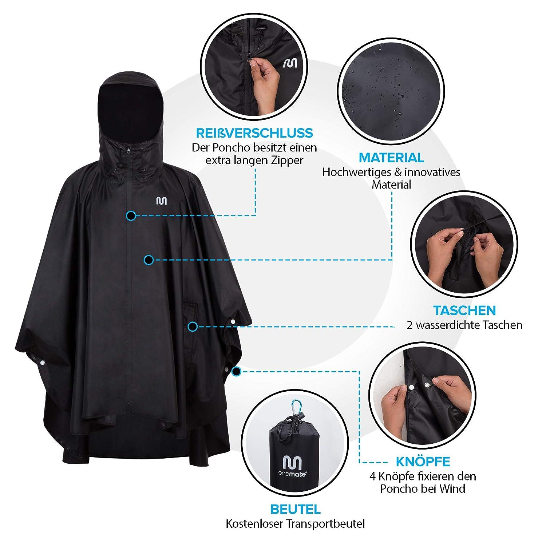 fede5a382362c Jacken 2 x Regencape Regen Poncho extraleicht Fahhrad Regenschutz Unisex  One Size blau