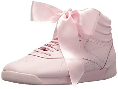 Reebok Women s F S HI Satin Bow Sneaker Porcelain Pink Skull Grey 5.5 M 6197f64a6c95f