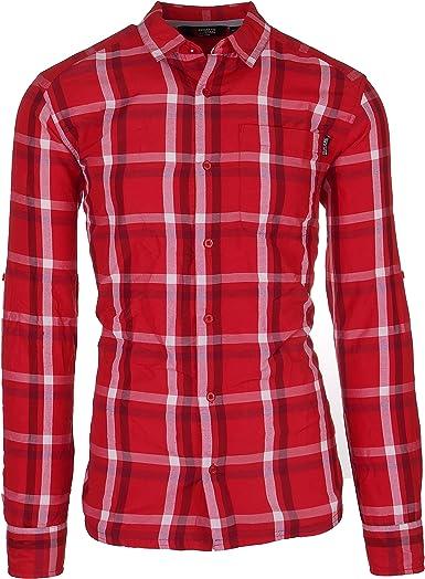 Camisa de Hombre Camisa de Manga Corta Regata de Manga Larga para Hombres también en Tallas Grandes a Cuadros con Bolsillos en el Pecho y Cuello Colorido.: Amazon.es: Ropa y accesorios
