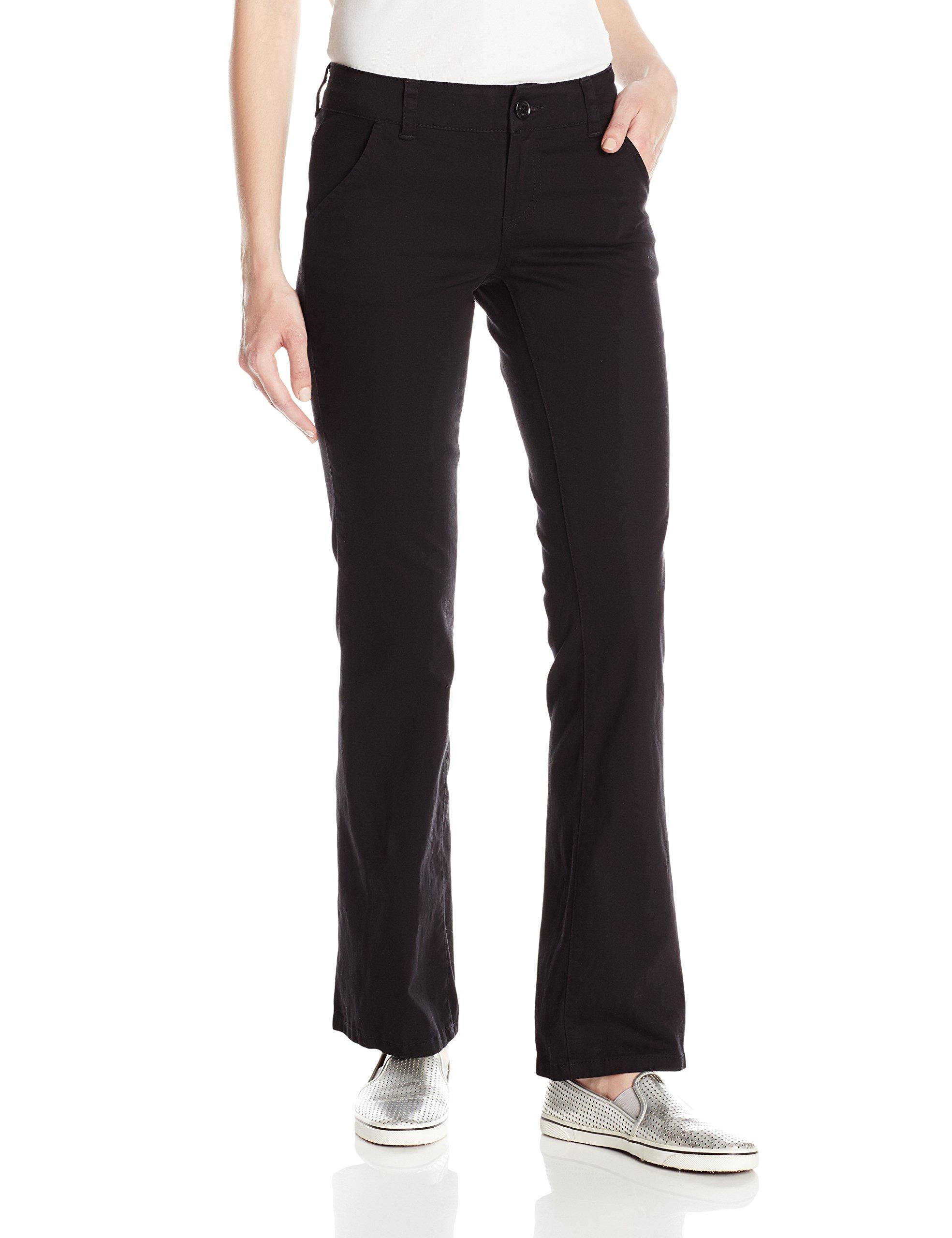 UNIONBAY Juniors Heather Slash Pocket Uniform Bootcut Pant, New Black, 11