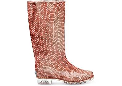 02c63f9f6a7 TOMS Women s Cabrilla Rain Boot Picante Red Herringbone Print Boot 5 B ...